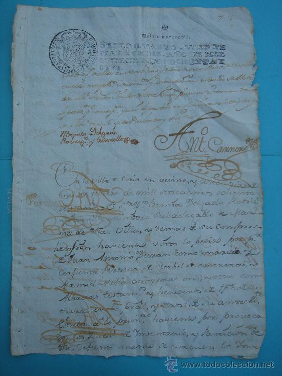 MANUSCRITO DE 25-II-1786, SELLO CUARTO, VEINTE MARAVEDÍES. DIM.- 31X21,5 CMS. (Coleccionismo - Documentos - Manuscritos)