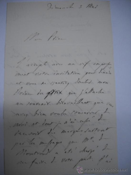 CARLISMO. CARTA MANUSCRITA CON FIRMA DE PEDRO SOUZA HOLSTEIN , MARQUES Y DUQUE DE PALMELLA. (Coleccionismo - Documentos - Manuscritos)