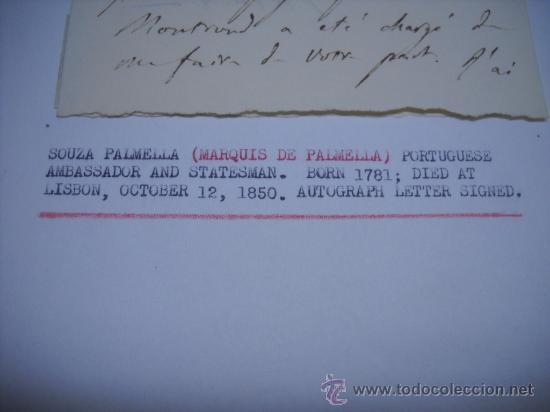 Manuscritos antiguos: CARLISMO. CARTA MANUSCRITA CON FIRMA DE PEDRO SOUZA HOLSTEIN , MARQUES Y DUQUE DE PALMELLA. - Foto 2 - 28734531