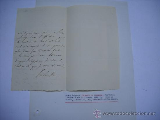 Manuscritos antiguos: CARLISMO. CARTA MANUSCRITA CON FIRMA DE PEDRO SOUZA HOLSTEIN , MARQUES Y DUQUE DE PALMELLA. - Foto 6 - 28734531