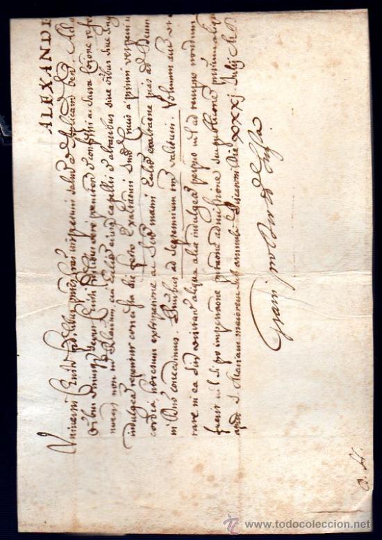 BULA PAPAL EXPEDIDA POR LA CANCILLERÍA APOSTÓLICA, PAPA ALEXANDER VII, 1655-1667, SIENA, TOSCANA (Coleccionismo - Documentos - Manuscritos)