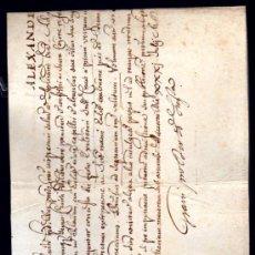 Manuscritos antiguos: BULA PAPAL EXPEDIDA POR LA CANCILLERÍA APOSTÓLICA, PAPA ALEXANDER VII, 1655-1667, SIENA, TOSCANA. Lote 28757303