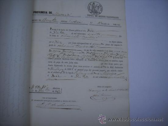 Manuscritos antiguos: MANUSCRITO PROVINCIA DE MURCIA (LORCA) 28 ESCRITURAS 14 IMPRESOS DE PAPEL DE PAGOS EL ESTADO 1859 - Foto 6 - 28761678