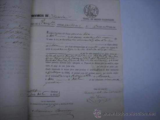 Manuscritos antiguos: MANUSCRITO PROVINCIA DE MURCIA (LORCA) 28 ESCRITURAS 14 IMPRESOS DE PAPEL DE PAGOS EL ESTADO 1859 - Foto 7 - 28761678