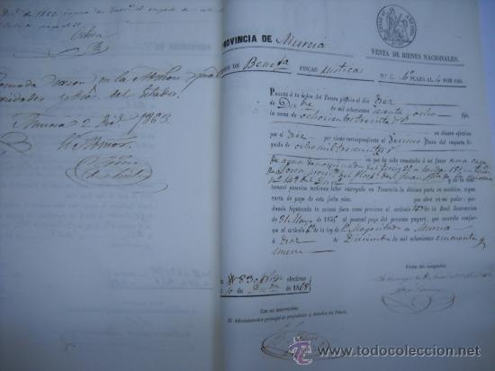 Manuscritos antiguos: MANUSCRITO PROVINCIA DE MURCIA (LORCA) 28 ESCRITURAS 14 IMPRESOS DE PAPEL DE PAGOS EL ESTADO 1859 - Foto 8 - 28761678