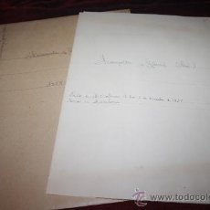 Manuscritos antiguos: CARPETA CON CARTA MANUSCRITA Y DOCUMENTOS DE JOSEP FRANQUESA I GOMIS. PROCEDE DE ARCHIVO PRIVADO. Lote 28886978