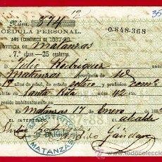Manuscritos antiguos: DOCUMENTO CEDULA PERSONAL , MATANZAS CUBA , 1888 , ORIGINAL, K4. Lote 28902083