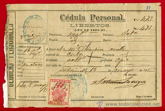 Documento esclavos cedula personal de libertos comprar for Cedula de habitabilidad precio