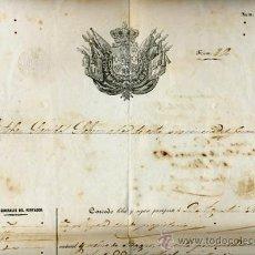Manuscritos antiguos: DOCUMENTO CONCESION DE PASAPORTE A ESPAÑOL DE GERONA , CUBA 1855 , ORIGINAL, K66. Lote 28904653