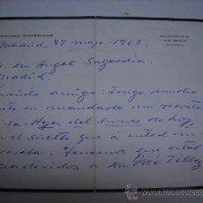 Manuscritos antiguos: CARTA MANUSCRITA Y CON FIRMA DEL ESCRITOR GUILLERMO FERNANDEZ-SHAW AL MUSICOLOGO ANGEL SAGARDIA,. Lote 28905274