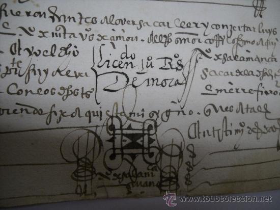 Manuscritos antiguos: MANUSCRITO S. XVI 1568. LICENCIA PARA PONER MONTE DE BERMILLO DE ENCINAS, ROBLES Y OTROS ARBOLES. - Foto 4 - 28973057