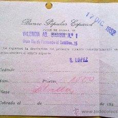 Manuscritos antiguos: E44-DOCUMENTO LIBRILLA MURCIA BANCO POPULAR ESPAÑOL . Lote 29809799