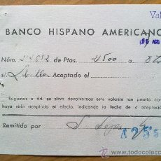 Manuscritos antiguos: E48-DOCUMENTO BANCO HISPANO AMERICANO LIBRILLA MURCIA VALENCIA. Lote 29810818