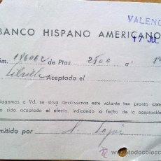 Manuscritos antiguos: E49-DOCUMENTO BANCO HISPANO AMERICANO LIBRILLA MURCIA VALENCIA. Lote 29810825