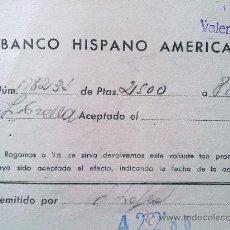 Manuscritos antiguos: E50-DOCUMENTO BANCO HISPANO AMERICANO LIBRILLA MURCIA VALENCIA. Lote 29810832
