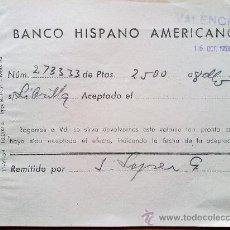 Manuscritos antiguos: E51-DOCUMENTO BANCO HISPANO AMERICANO LIBRILLA MURCIA VALENCIA. Lote 29810837