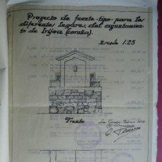 Manuscritos antiguos: GALICIA. CORUÑA.ARQUITECTURA. ANTONIO TENREIRO. 'PROYECTO DE CONSTRUCCION DE FUENTE AYº IRIJOA' 1953. Lote 29897828
