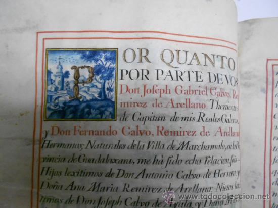 Manuscritos antiguos: REAL EXECUTORIA DE NOBLEZA SOLARIEGA DEL APELLIDO CALVO, Manuscrito pergamino 1502-1751 firma real - Foto 3 - 30387314