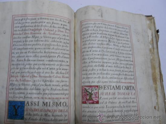 Manuscritos antiguos: REAL EXECUTORIA DE NOBLEZA SOLARIEGA DEL APELLIDO CALVO, Manuscrito pergamino 1502-1751 firma real - Foto 10 - 30387314