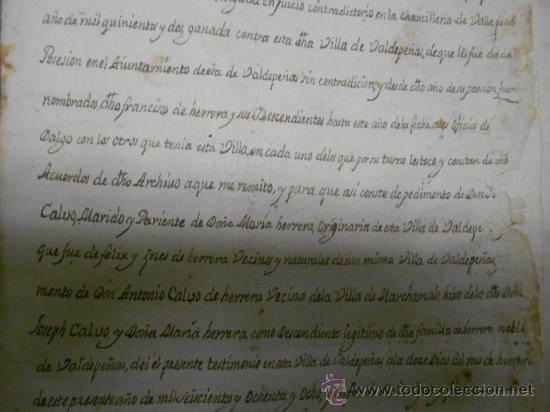 Manuscritos antiguos: REAL EXECUTORIA DE NOBLEZA SOLARIEGA DEL APELLIDO CALVO, Manuscrito pergamino 1502-1751 firma real - Foto 27 - 30387314
