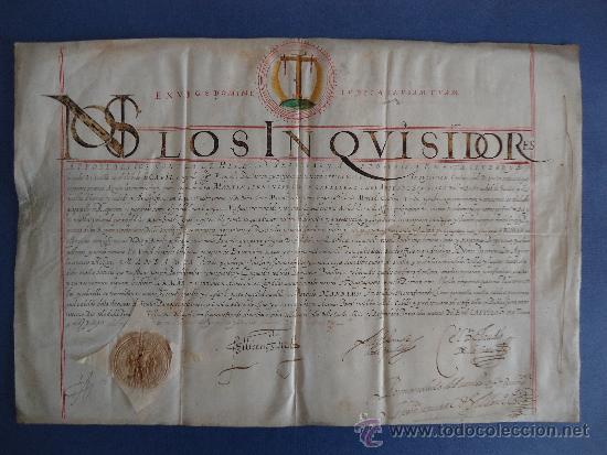 INQUISICION.SEVILLA.'TITULO DE FAMILIAR DE SANTO OFICIO' 33X47 PERGAMINO 1591¡¡¡IMPRESIONANTE!!! (Coleccionismo - Documentos - Manuscritos)