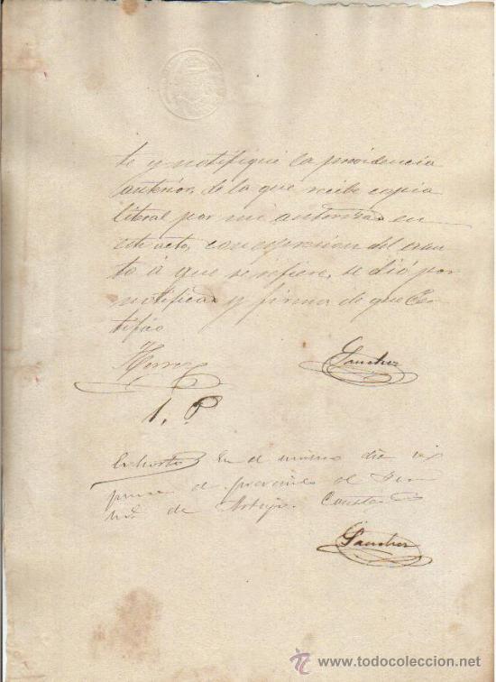 1887 DOCUMENTO MANUSCRITO TIMBRADO. PAPEL SELLADO FISCAL SELLO DE OFICIO 10 CTS (Coleccionismo - Documentos - Manuscritos)