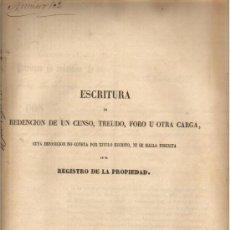 Manuscritos antiguos: 1867 VALENCIA DOCUMENTO MANUSCRITO REDENCION DE CENSO. PROPIEDAD NO INSCRITA EN REGISTRO PROPIEDAD. Lote 31070787