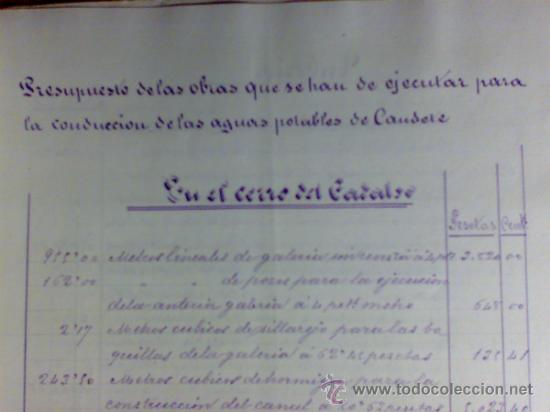 Manuscritos antiguos: PROYECTO DEL AÑO 1886 DE CONDUCCIÓN DE AGUAS POTABLES DE CAUDETE. ALBACETE. - Foto 2 - 31135131