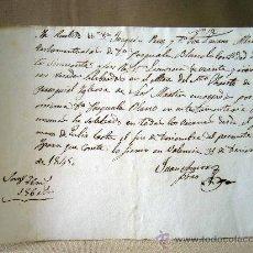Manuscritos antiguos: MANUSCRITO, 1845, RECIBO POR POR LIMOSNAS, ALTAR SANTO CRISTO, PARROQUIA SAN MARTIN DE VALENCIA. Lote 31221762