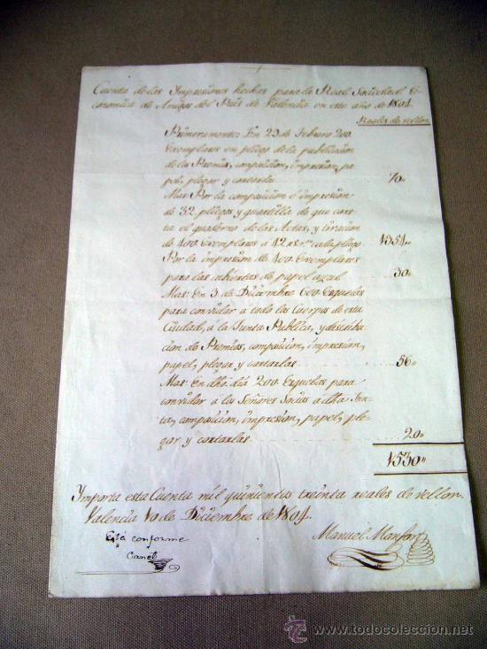 Manuscritos antiguos: MANUSCRITO, GASTOS, REAL SOCIEDAD, AMIGOS PAIS VALENCIANO, IMPRENTA MANUEL MONFORT, VALENCIA 1804 - Foto 2 - 31235252