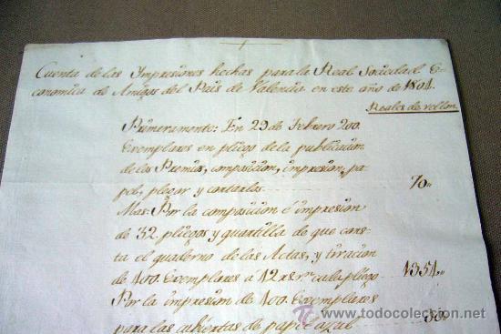 Manuscritos antiguos: MANUSCRITO, GASTOS, REAL SOCIEDAD, AMIGOS PAIS VALENCIANO, IMPRENTA MANUEL MONFORT, VALENCIA 1804 - Foto 3 - 31235252