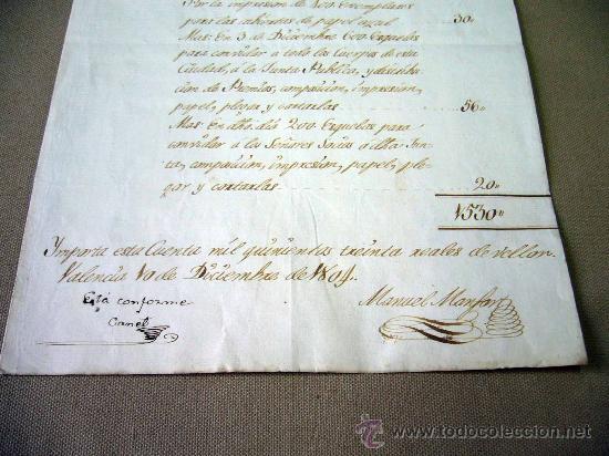Manuscritos antiguos: MANUSCRITO, GASTOS, REAL SOCIEDAD, AMIGOS PAIS VALENCIANO, IMPRENTA MANUEL MONFORT, VALENCIA 1804 - Foto 4 - 31235252
