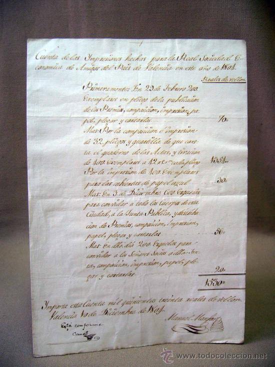 Manuscritos antiguos: MANUSCRITO, GASTOS, REAL SOCIEDAD, AMIGOS PAIS VALENCIANO, IMPRENTA MANUEL MONFORT, VALENCIA 1804 - Foto 6 - 31235252