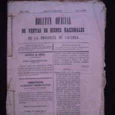 Manuscritos antiguos: MANUSCRITO CACERES, 1890- BOLETIN VENTAS BIENES NACIONALES, ESCRITURA VENTA JUDICIAL LOGROSA N . Lote 31344560