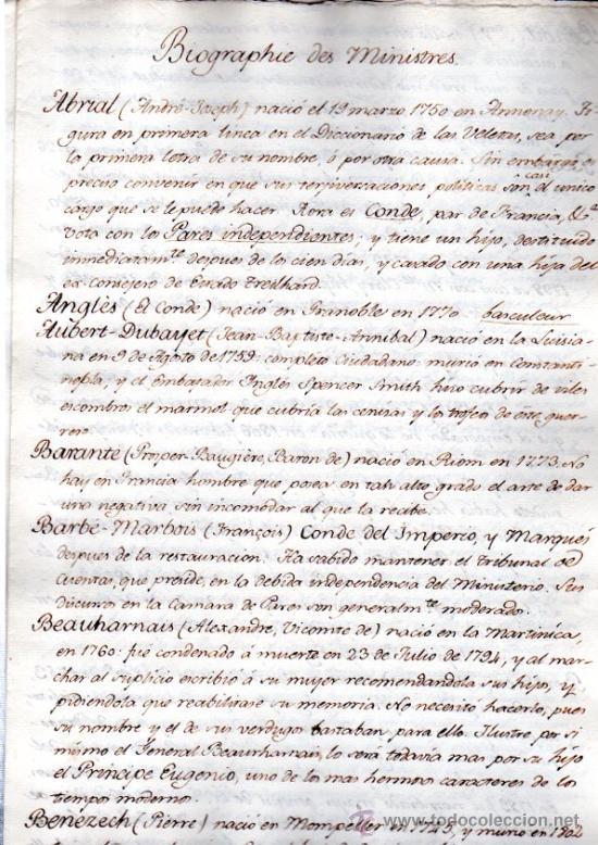 BIOGRAFÍA DE MINISTROS FRANCESES, 1750, DATOS BIOGRÁFICOS, PERSONALES Y LABORALES (Coleccionismo - Documentos - Manuscritos)