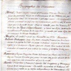 Manuscritos antiguos: BIOGRAFÍA DE MINISTROS FRANCESES, 1750, DATOS BIOGRÁFICOS, PERSONALES Y LABORALES. Lote 31411300