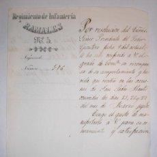 Manuscritos antiguos: .CONCESION DEL GRADO DE COMANDANTE - 1874 (REGIMIENTO DE INFANTERIA). Lote 31614176