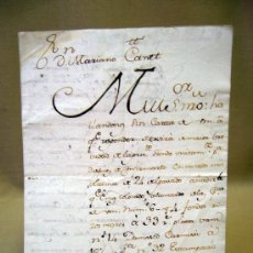 Manuscritos antiguos: DOCUMENTO, MANUSCRITO, CARTA DE IZQUIERDO BORDA A MARIANO CANET, 1767, COMERCIANTES, SEDA, TEXTIL. Lote 31767010