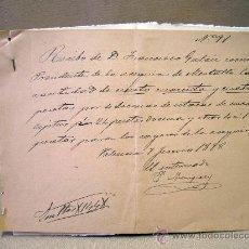 Manuscritos antiguos: DOCUMENTO, MANUSCRITO, 1898, RECIBO, VALENCIA. Lote 31767108