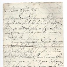 Manuscritos antiguos: 2 CARTAS MANUSCRITAS. ESCRITAS EN ALICANTE EN 1802 Y 1804.. Lote 31860114