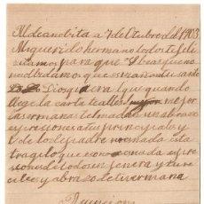 Manuscritos antiguos: *** CARTA PERSONAL MANUSCRITA ALDEANOVITA DE SAN BARTOLOMÉ 7 OCTUBRE 1903 ***. Lote 32050064