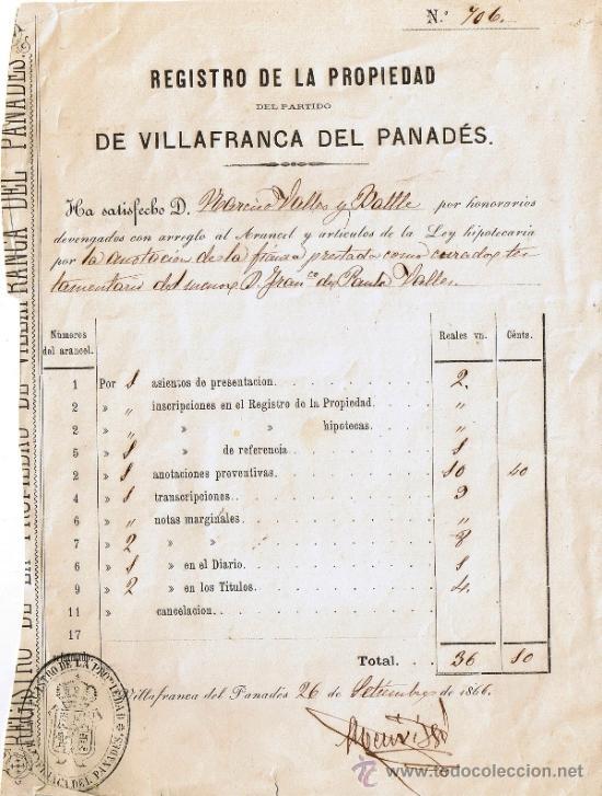 HOJA REGISTRO DE LA PROPIEDAD DE VILAFRANCA DEL PENEDÈS - AÑO 1866 (Coleccionismo - Documentos - Manuscritos)