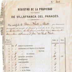 Manuscritos antiguos: HOJA REGISTRO DE LA PROPIEDAD DE VILAFRANCA DEL PENEDÈS - AÑO 1866. Lote 32115110