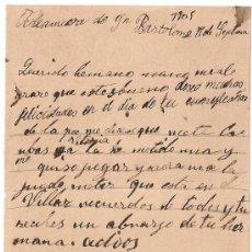 Manuscritos antiguos: *** CARTA PERSONAL MANUSCRITA ALDEANUEVA DE SAN BARTOLOMÉ 17 SEPTIEMBRE 1905 ***. Lote 32123159
