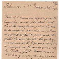 Manuscritos antiguos: *** CARTA PERSONAL MANUSCRITA ALDEANUEVA DE SAN BARTOLOMÉ 7 SEPTIEMBRE 1905 ***. Lote 32123197