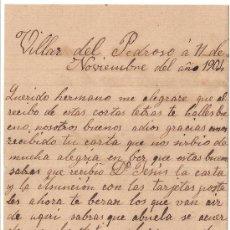 Manuscritos antiguos: *** CARTA PERSONAL MANUSCRITA VILLAR DEL PEDROSO 11 NOVIEMBRE 1904 ***. Lote 32123280