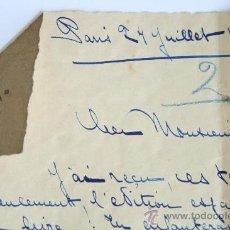 Manuscritos antiguos: MANUSCRITO CARTA MANUSCRITA DE LA ESCRITORA RAYMONDE MACHARD PARIS 1926 LITERATURA FRANCESA FIRMADO. Lote 32181210