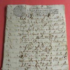 Manuscritos antiguos: MANUCRISTO REAL MANDATO OFICIO AHONDIGA O.LEBANDO A.GILIS F.SANCHEZ MADRID SEVILLA 1750 SELLO FISCAL. Lote 32481209