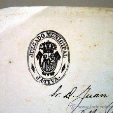 Manuscritos antiguos: DOCUMENTO MANUSCRITO, JUZGADO MUNICIPAL, JATIVA, XATIVA, 1909, JOSE BLASCO. Lote 32536199