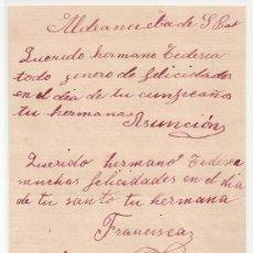 Manuscritos antiguos: *** CARTA PERSONAL MANUSCRITA ALDEANUEVA DE SAN BARTOLOMÉ 7 OCTUBRE 1905 ***. Lote 32701698
